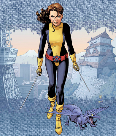 Shadowcat in uniform, with Lockheed the purple dragon.