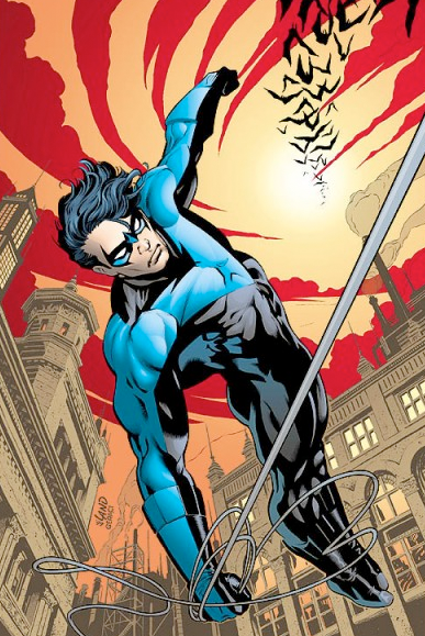 Nightwing flying high over Gotham by rope