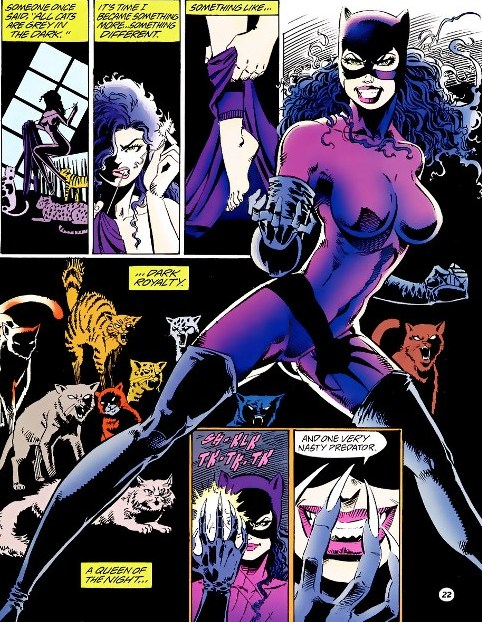 Catwoman, surrounded by cats, redesigning her look into a purple jumpsuit