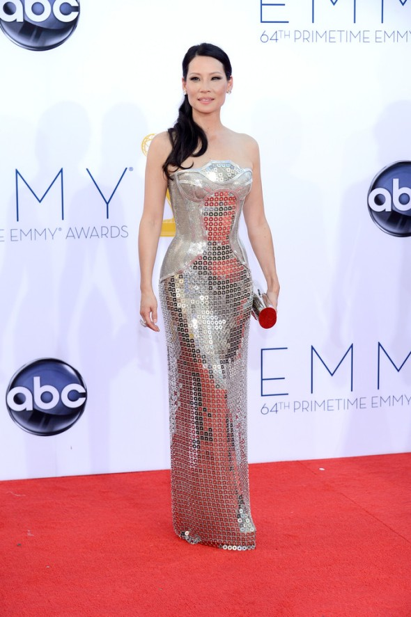 Actress Lucy Liu in Versace, full shot