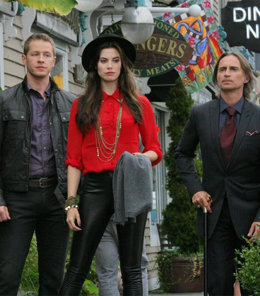 a still from Once Upon a Time; David, Ruby, and Mr. Gold
