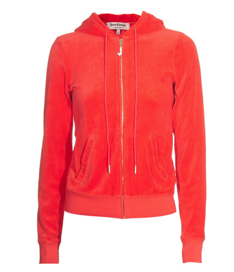 a red hoodie by Juicy Couture