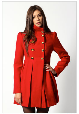 a model showing off the Wendy High Neck Coat in red
