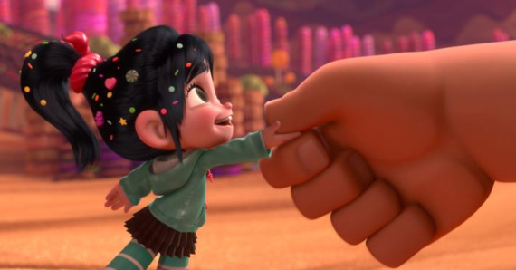 an image from Wreck It Ralph of Vanellope shaking Ralph's hand
