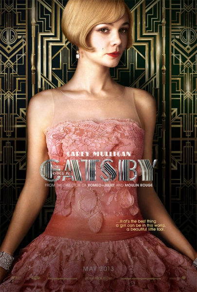 a film poster for The Great Gatsby featuring Carey Mulligan as Daisy