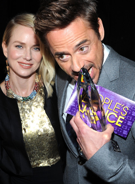 a photo of Naomi Watts and Robert Downey Jr. with his People's Choice Award