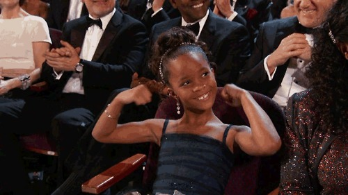 Quvenzhané Wallis flexing when her name is called