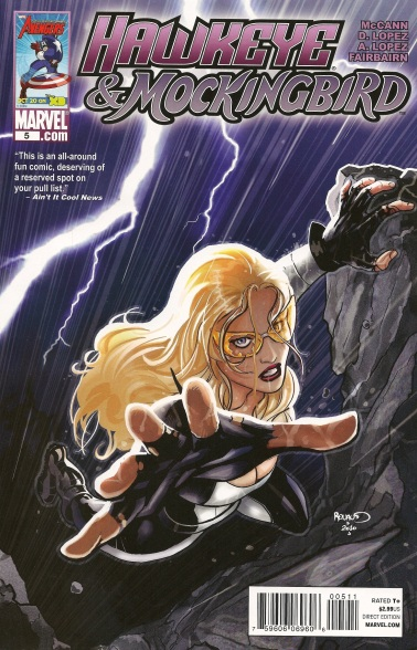 the cover of Hawkeye&Mockingbird #5; Bobbi Morse hanging from a cliff and sporting bombshell hair and make-up
