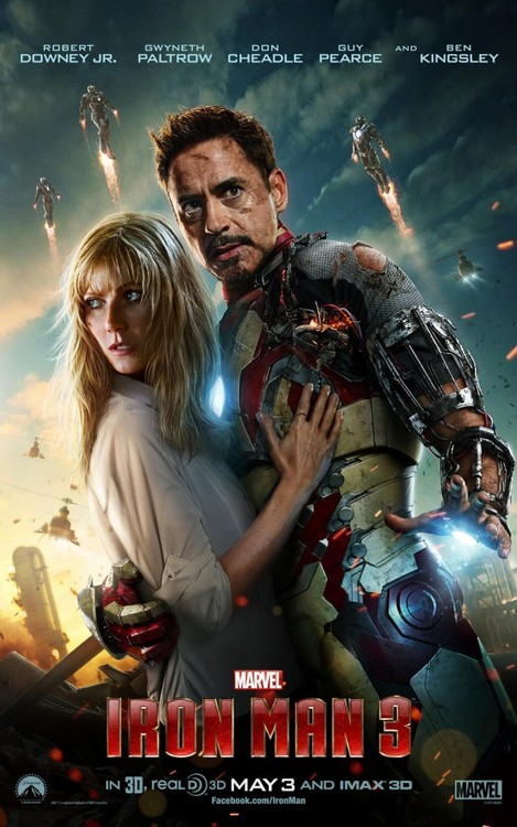 a poster for Iron Man 3 featuring Tony Stark and Pepper Potts