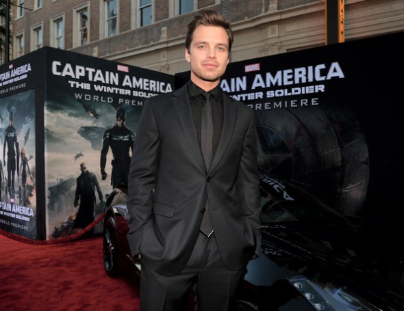 Sebastian Stan at the Captain America 2 red carpet premiere