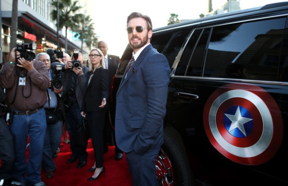 Chris Evans at the Captain America 2 red carpet premiere