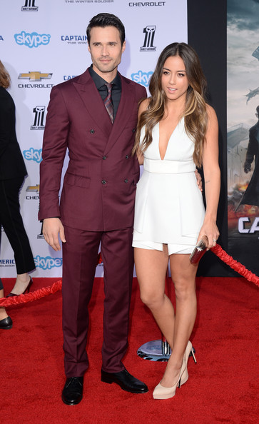 Chloe Bennet and Brett Dalton at the Captain America 2 red carpet premiere